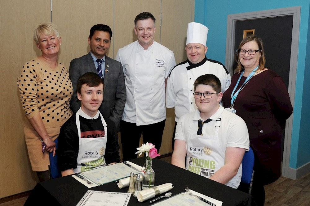 (Left to right, back row) Sharon Munro, Senior Vice President of Kirkcaldy Rotary Club, Gobinda Kharel, owner and chef at the Annapurna Gurkha in Kirkcaldy, Eadie Manson, Culinary Arts Lecturer at Fife College, James McKay, Head Chef at Pettycur Bay Hotel, Lindsey Robertson, Curriculum Manager for Culinary Arts and Hospitality at Fife College. (Left to right, front row) Mackenzie Graham, Jake Ramsey.